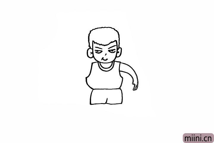 10.在衣服的一侧画出他的胳膊。