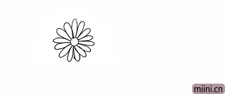 2.再画出它周围的长长花瓣。