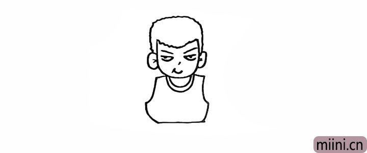 8.向下画出樱木花道球衣的形状。