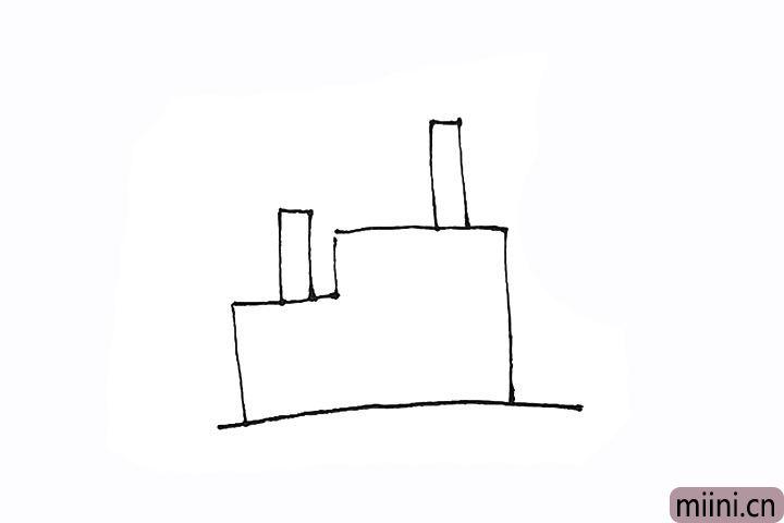 2.然后上面再画上几个长条的烟囱。