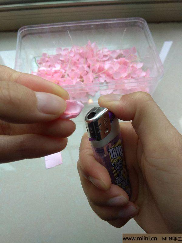 丝带缎带烧花 紫阳花绣球 第6步