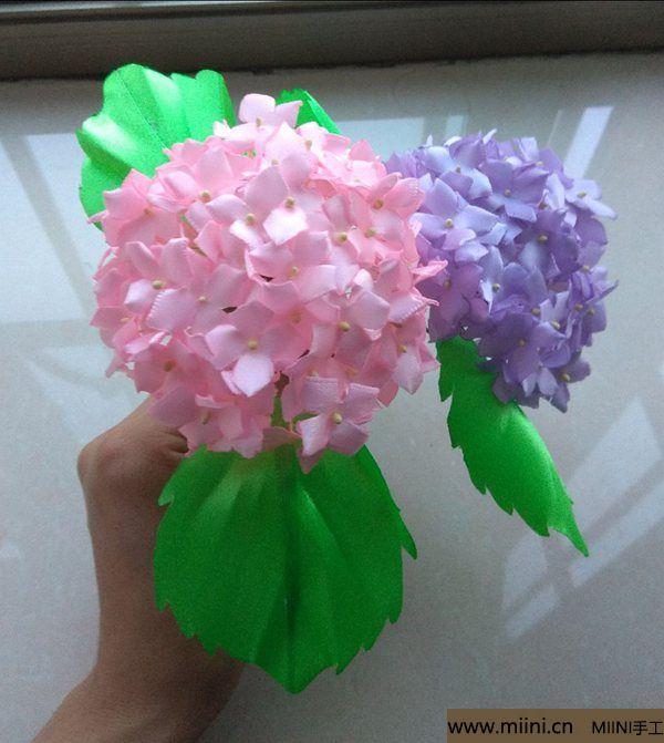 丝带缎带烧花 紫阳花绣球