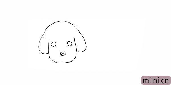 5.画出小狗的鼻子留出高光的位置。