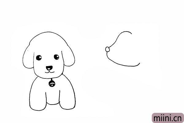 13.一条弯弯的弧线作为小狗的下颚。