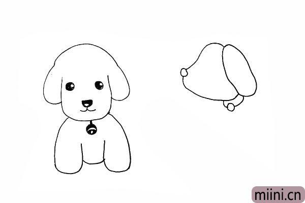 15.我们画出小狗的脖环来装饰一下。