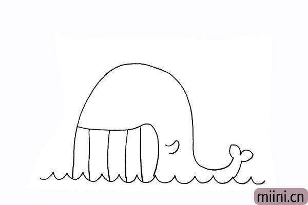 6.在鲸鱼的身体上画一个小小的鱼鳍.