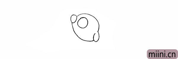 5.接着在画出它大大的眼睛。
