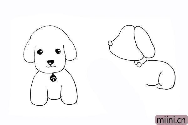 17.用两条方向不同的弧线作为狗狗的后腿。
