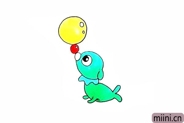 画一个正在顶球的小海狗
