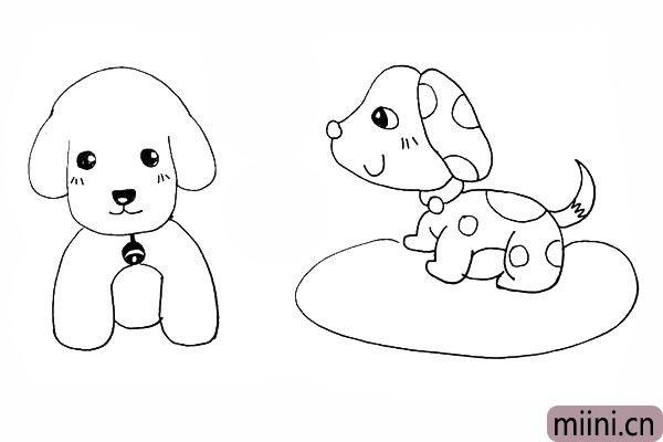 24.接着在两只狗狗的脸颊上装饰一下。