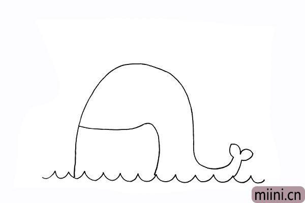 4.我们再画出鲸鱼大大的嘴巴。