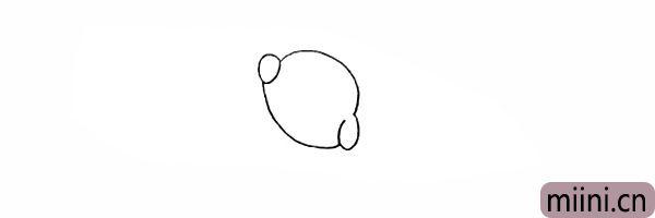 4.然后画出小海狗向下耷拉的耳朵。