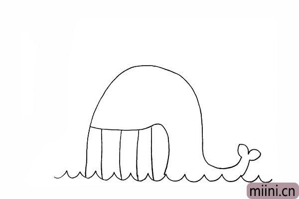5.接着在嘴巴上画出竖排的牙齿。