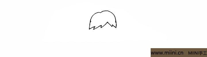 1.先画上两条弧线,下面用小折线画出头发。