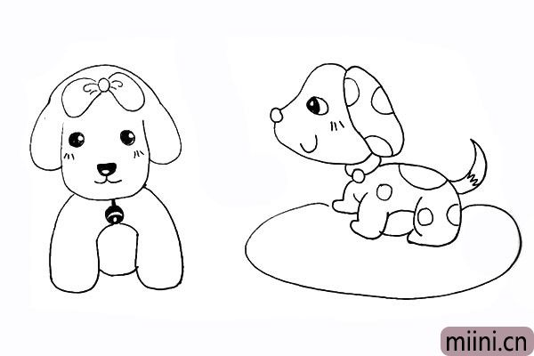 25.然后在狗狗的头上画一只漂亮的蝴蝶结。