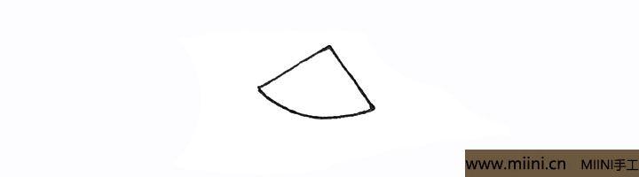 1.先画上一个尖角,然后用弧线连接起来。