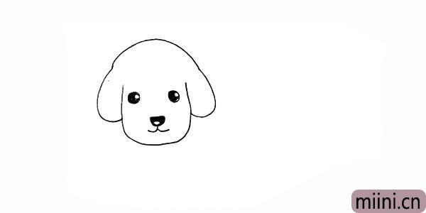 7.然后给小狗涂上黑眼珠以及鼻子的部分。