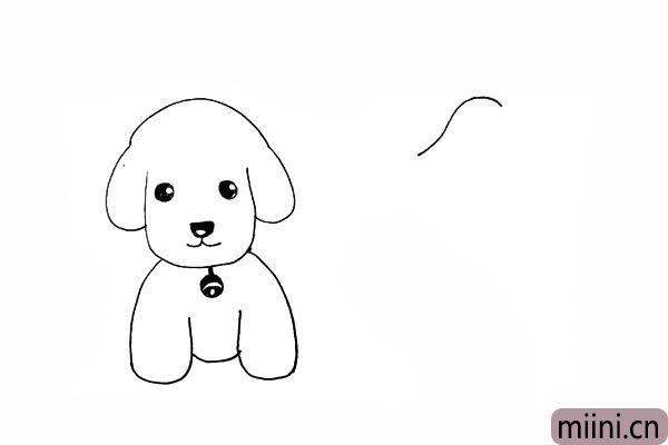 11.接着用一条虚线画出另一只小狗的头部。
