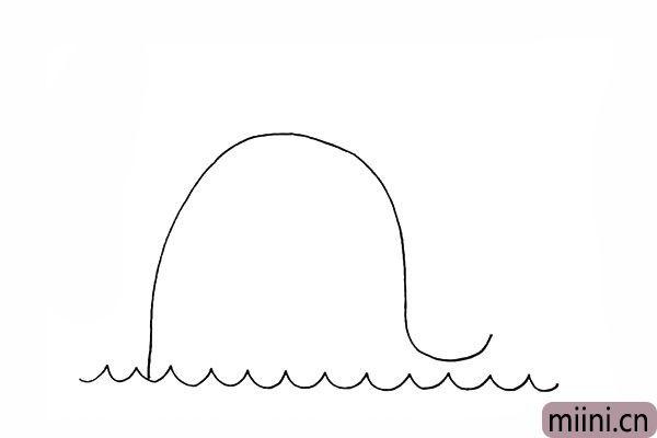 2.接着用曲线画出鲸鱼的头部以及背部。