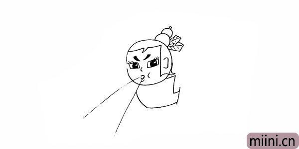 9.向下画出水娃的上衣部分。