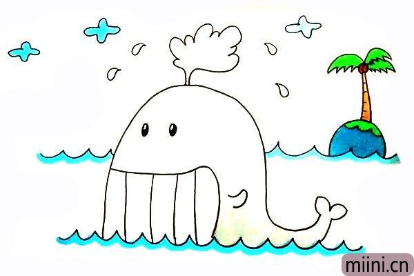 喷水的鲸鱼简笔画步骤