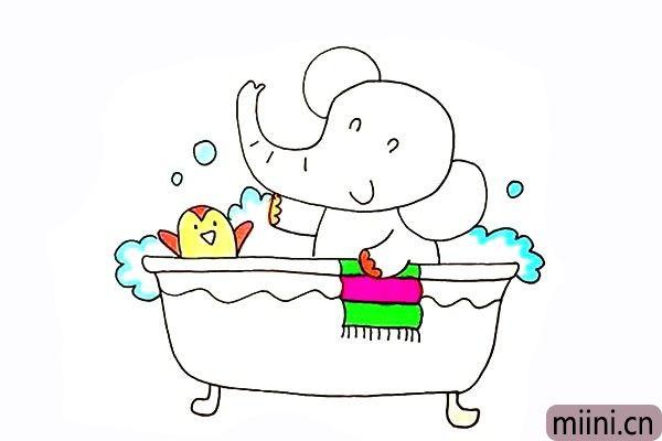 正在洗澡的小象简笔画步骤