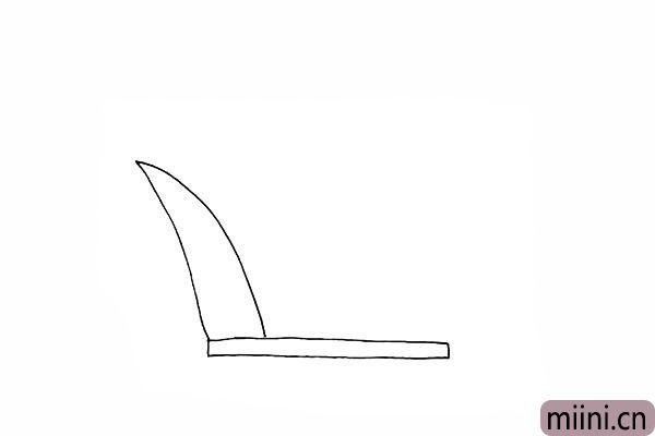 2.接着画出芦苇尖尖的叶子。