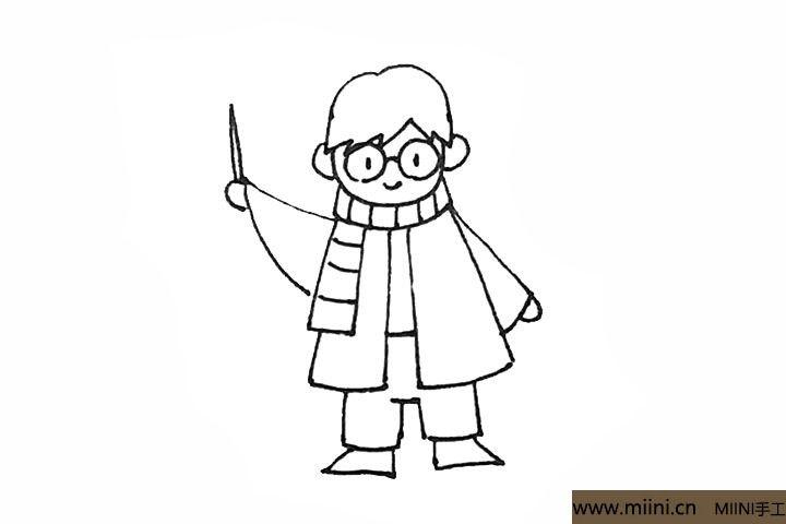 9.袖口画上半圆作为手,手上可以再画上魔法杖,以及给围巾加上条纹。
