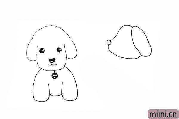14.接着画一个长长的椭圆代替小狗的耳朵。