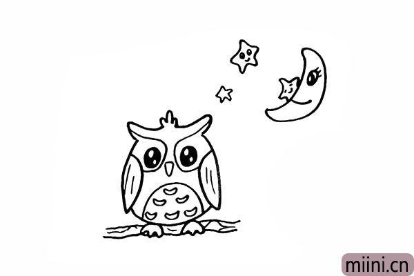 16.在周围画上一些小星星装饰一下夜空。