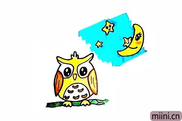 夜晚的猫头鹰简笔画步骤