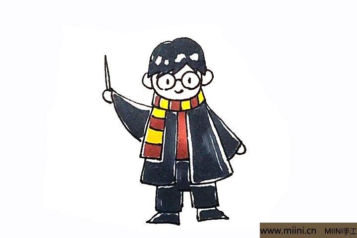 10.最后涂上好看的颜色,哈利波特就画好了。
