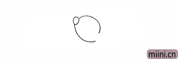 3.在鼻子的下方画一条弧线作为头部。