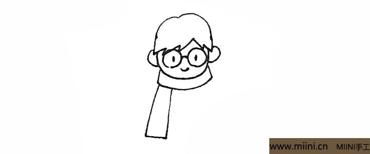 4.然后下面画上横的方形和竖的方形作为围巾。
