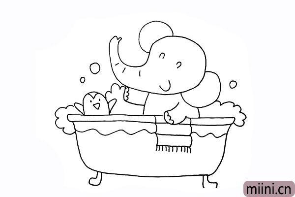 20.接着再用波浪线给浴缸装饰一下。
