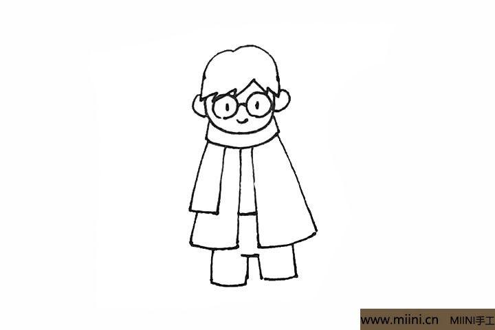 6.在长袍中间画上横线,下面再用方形来表示裤子。