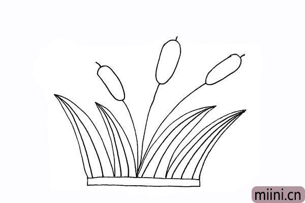 7.我们给芦苇叶画上好看的纹理。