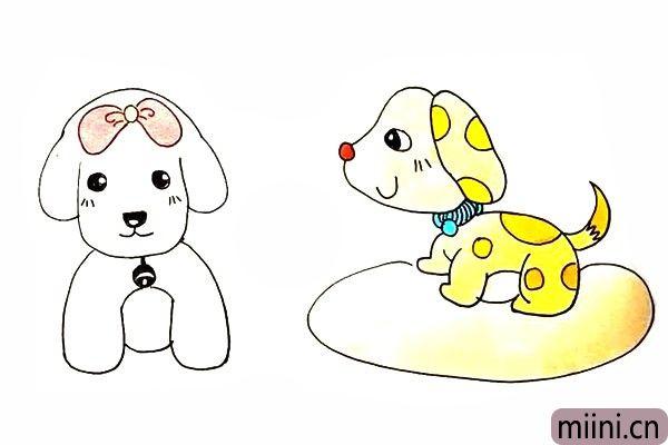26.最后把可爱的小狗涂上漂亮的颜色吧。