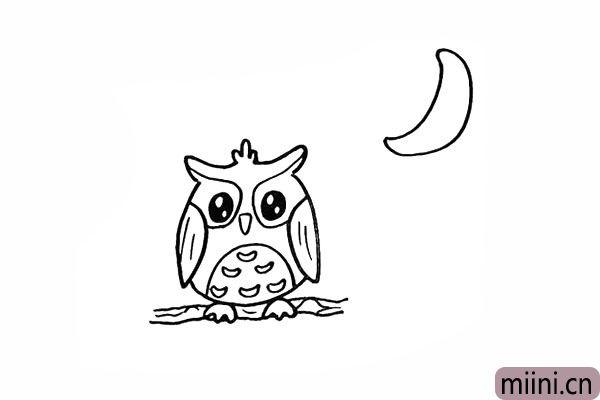 13.然后在右上方画一个弯弯的月亮。