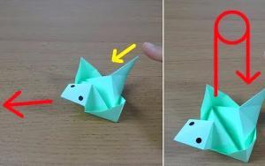 用纸折的小玩具,跑跳翻跟头,太好玩了