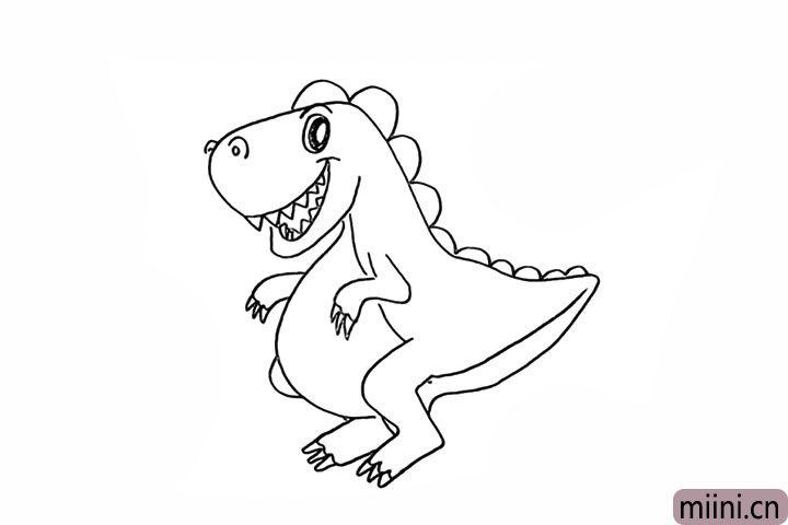 11.用线条装饰一下恐龙身上的纹理。