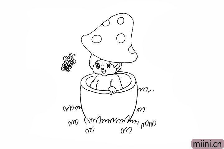 14.接着用小圆圈装饰一下蘑菇盖。