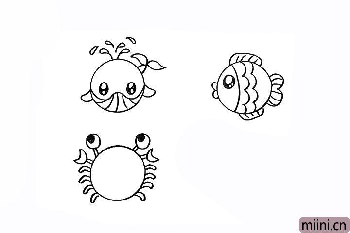 14.螃蟹一共有几条腿?画出它的腿部。