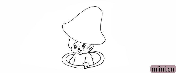 9.在周围画上两个圆环组成蘑菇柄的边缘。