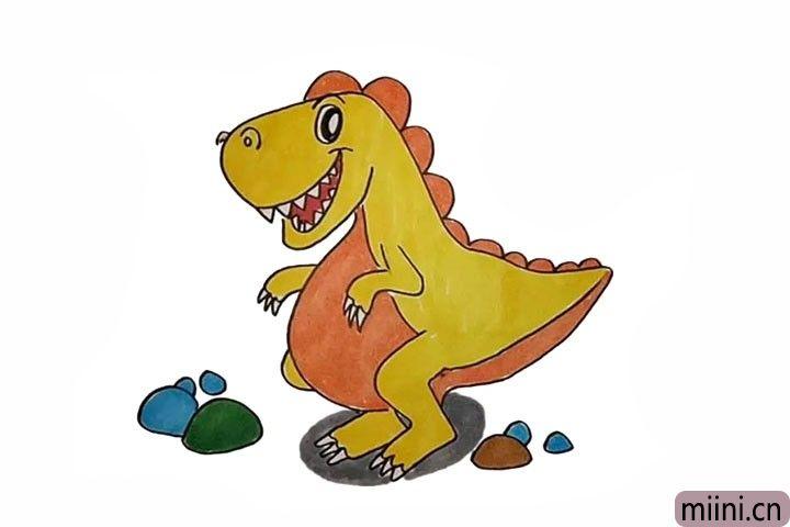 13.最后就可以给恐龙涂上漂亮的颜色了。