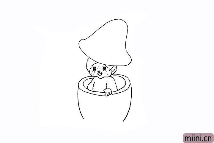 10.再向下画出蘑菇柄的身体部分。