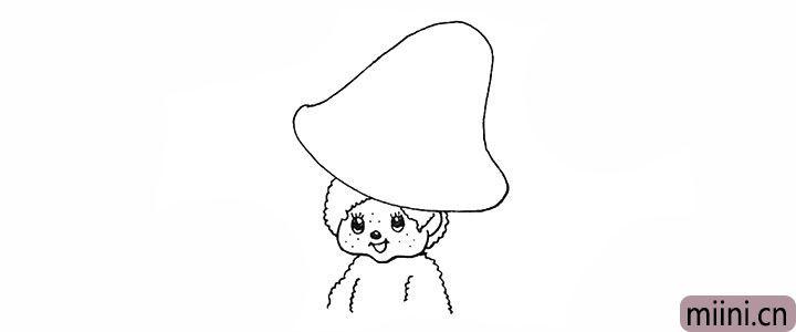 7.在头下方的位置画上蒙奇奇的肩膀部分。