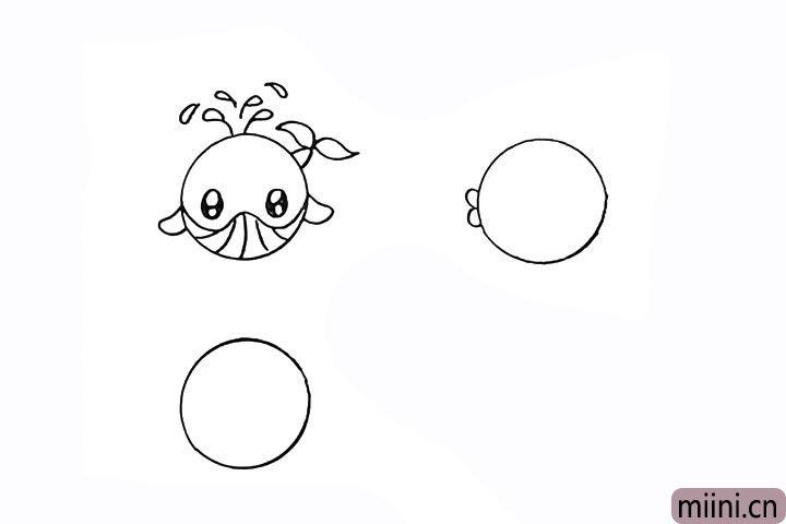 7.再画出一条小鱼先画出它的嘴巴。