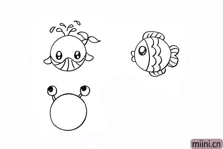 12.还有一只小螃蟹先画出眼睛留出高光。