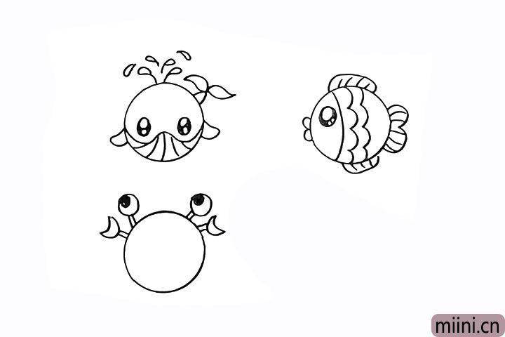 13.在眼睛的两侧画出它的大钳子。